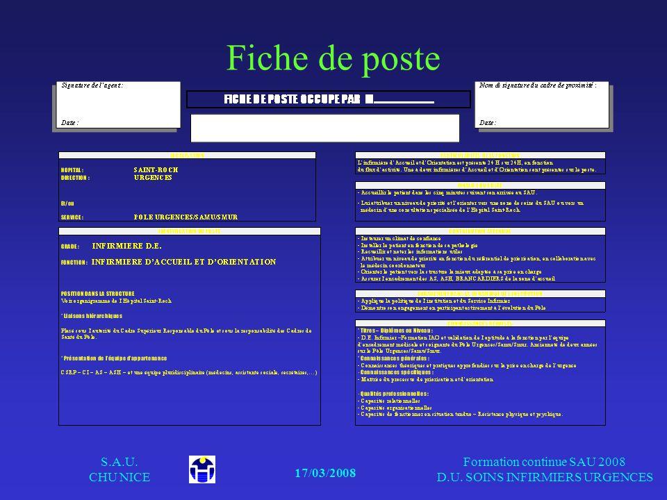 17/03/2008 S.A.U. CHU NICE Formation continue SAU 2008 D.U. SOINS INFIRMIERS URGENCES Fiche de poste