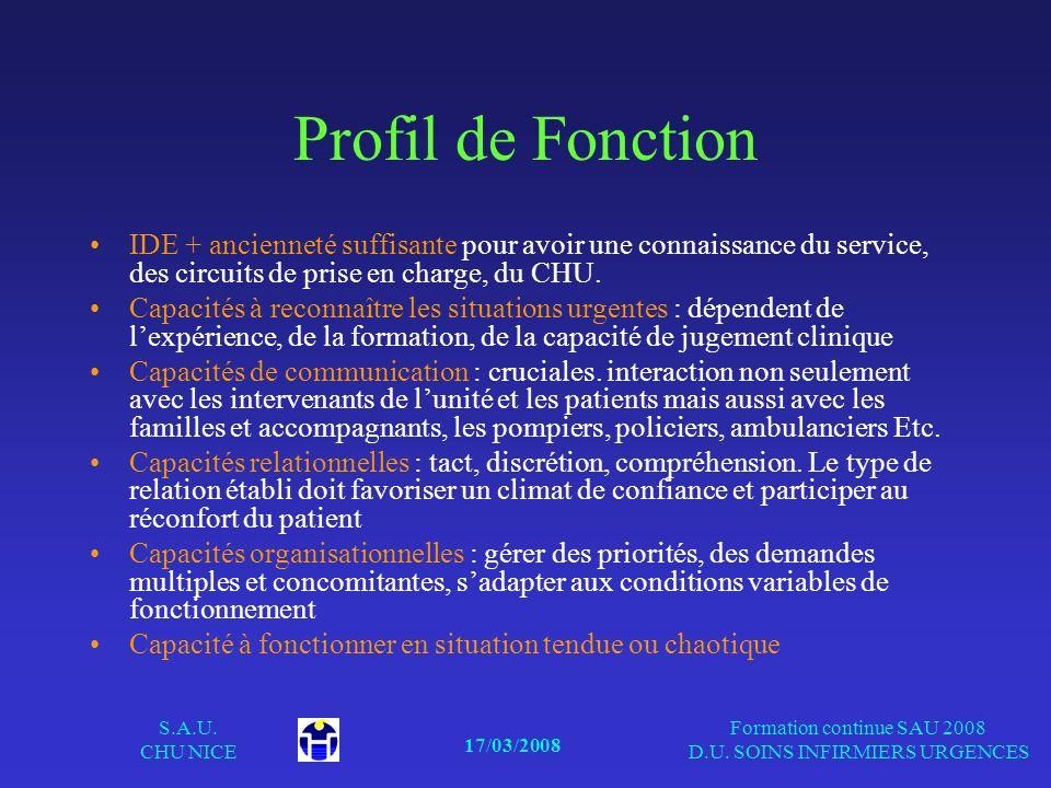 17/03/2008 S.A.U. CHU NICE Formation continue SAU 2008 D.U. SOINS INFIRMIERS URGENCES Profil de Fonction IDE + ancienneté suffisante pour avoir une co