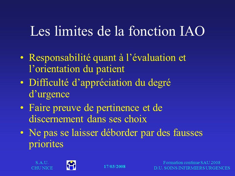 17/03/2008 S.A.U. CHU NICE Formation continue SAU 2008 D.U. SOINS INFIRMIERS URGENCES Les limites de la fonction IAO Responsabilité quant à lévaluatio