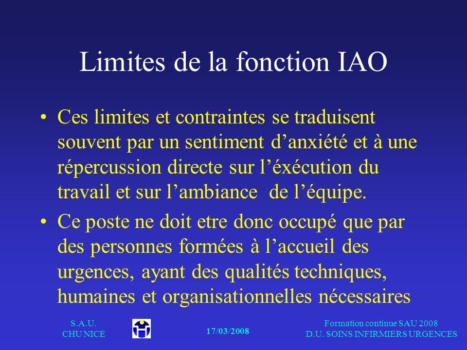 17/03/2008 S.A.U. CHU NICE Formation continue SAU 2008 D.U. SOINS INFIRMIERS URGENCES Limites de la fonction IAO Ces limites et contraintes se traduis