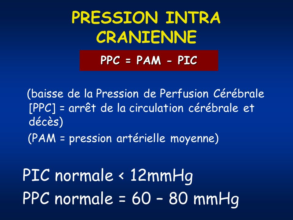 PRESSION INTRA CRANIENNE (baisse de la Pression de Perfusion Cérébrale [PPC] = arrêt de la circulation cérébrale et décès) (PAM = pression artérielle