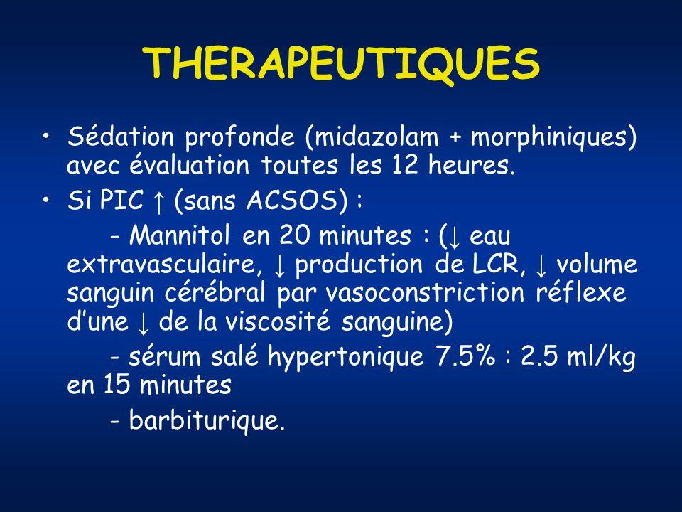 THERAPEUTIQUES Sédation profonde (midazolam + morphiniques) avec évaluation toutes les 12 heures.