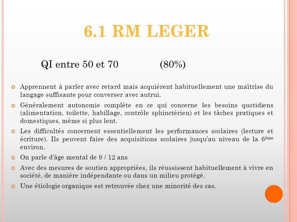 6.1 RM LEGER QI entre 50 et 70(80%) Apprennent à parler avec retard mais acquièrent habituellement une maîtrise du langage suffisante pour converser a