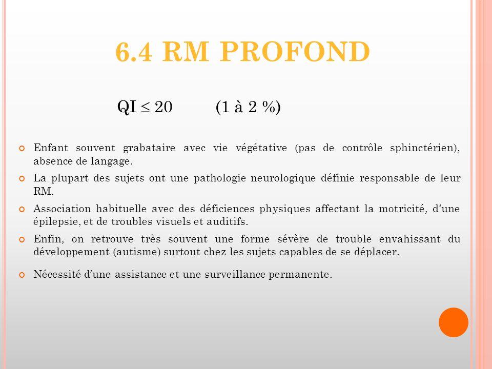 6.4 RM PROFOND QI 20(1 à 2 %) Enfant souvent grabataire avec vie végétative (pas de contrôle sphinctérien), absence de langage. La plupart des sujets