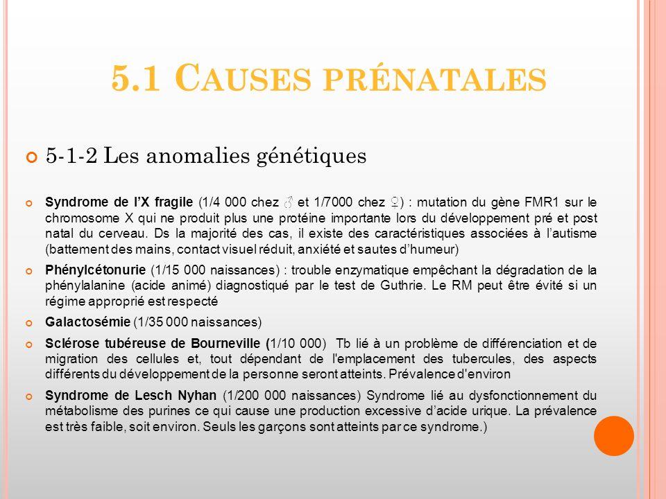 5.1 C AUSES PRÉNATALES 5-1-2 Les anomalies génétiques Syndrome de lX fragile (1/4 000 chez et 1/7000 chez ) : mutation du gène FMR1 sur le chromosome