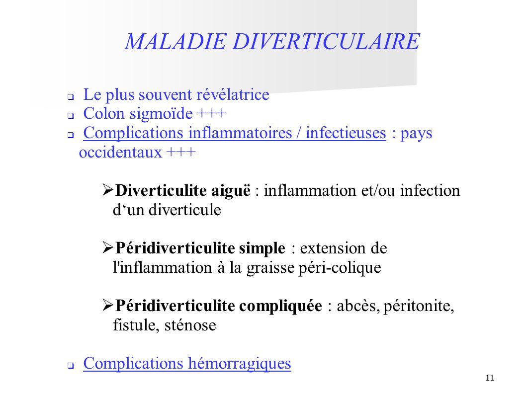 11 MALADIE DIVERTICULAIRE Le plus souvent révélatrice Colon sigmoïde +++ Complications inflammatoires / infectieuses : pays occidentaux +++ Diverticul