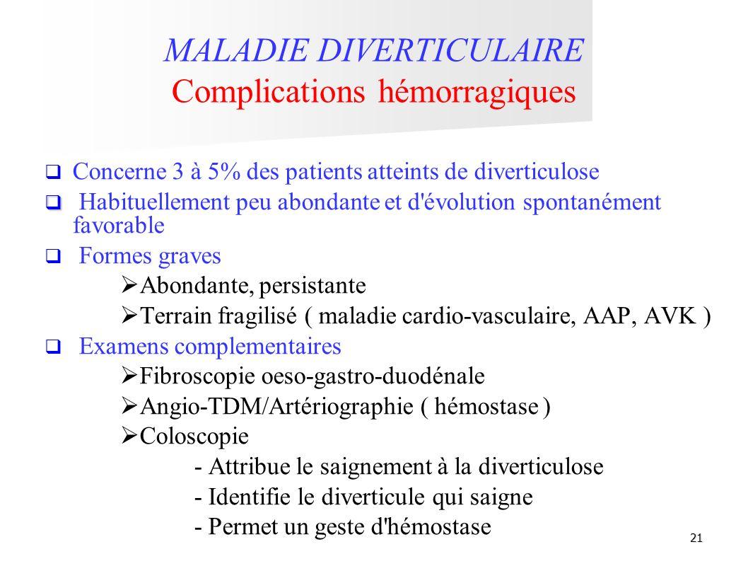 21 MALADIE DIVERTICULAIRE Complications hémorragiques Concerne 3 à 5% des patients atteints de diverticulose Habituellement peu abondante et d'évoluti