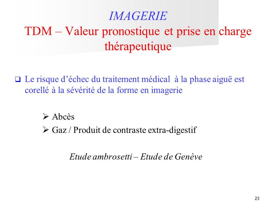 23 IMAGERIE TDM – Valeur pronostique et prise en charge thérapeutique Le risque déchec du traitement médical à la phase aiguë est corellé à la sévérit