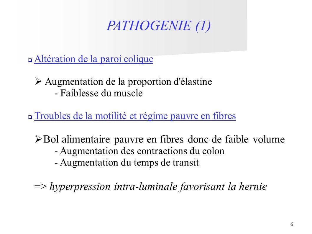 6 PATHOGENIE (1) Altération de la paroi colique Augmentation de la proportion d'élastine - Faiblesse du muscle Troubles de la motilité et régime pauvr