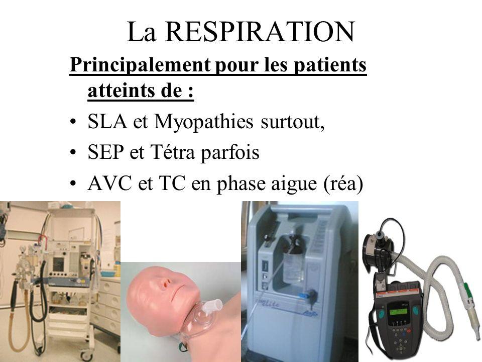 La RESPIRATION Principalement pour les patients atteints de : SLA et Myopathies surtout, SEP et Tétra parfois AVC et TC en phase aigue (réa)