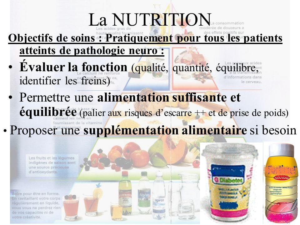 La NUTRITION Objectifs de soins : Pratiquement pour tous les patients atteints de pathologie neuro : Évaluer la fonction (qualité, quantité, équilibre