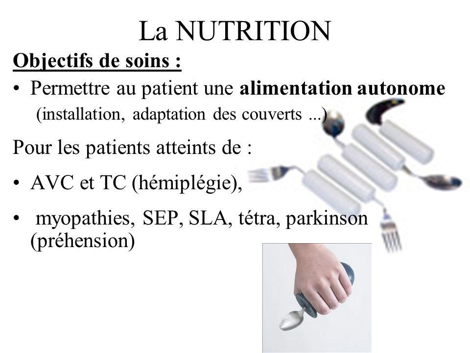 La NUTRITION Objectifs de soins : Permettre au patient une alimentation autonome (installation, adaptation des couverts...) Pour les patients atteints
