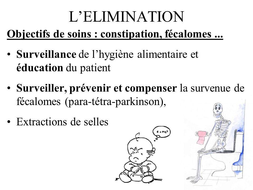 LELIMINATION Objectifs de soins : constipation, fécalomes... Surveillance de lhygiène alimentaire et éducation du patient Surveiller, prévenir et comp