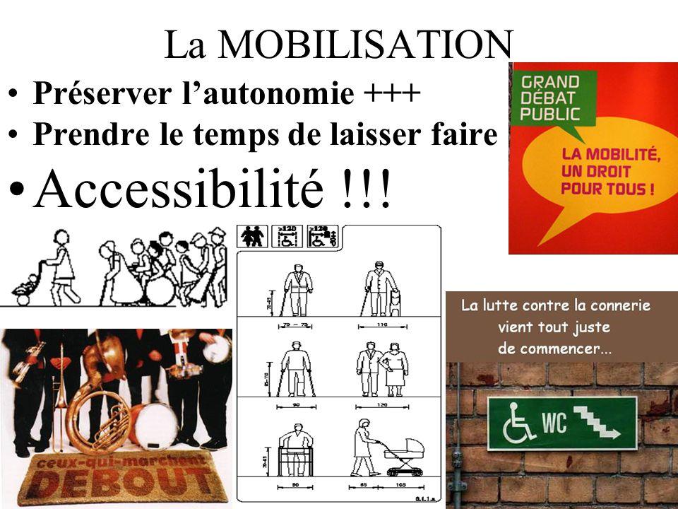 La MOBILISATION Préserver lautonomie +++ Prendre le temps de laisser faire Accessibilité !!!