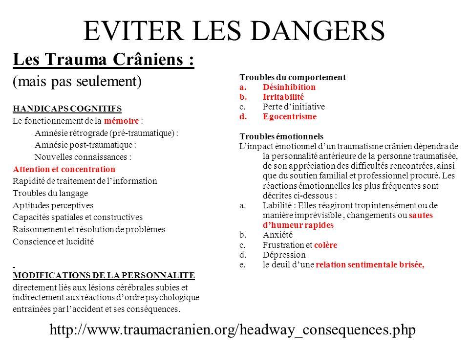 EVITER LES DANGERS Les Trauma Crâniens : (mais pas seulement) HANDICAPS COGNITIFS Le fonctionnement de la mémoire : Amnésie rétrograde (pré-traumatiqu