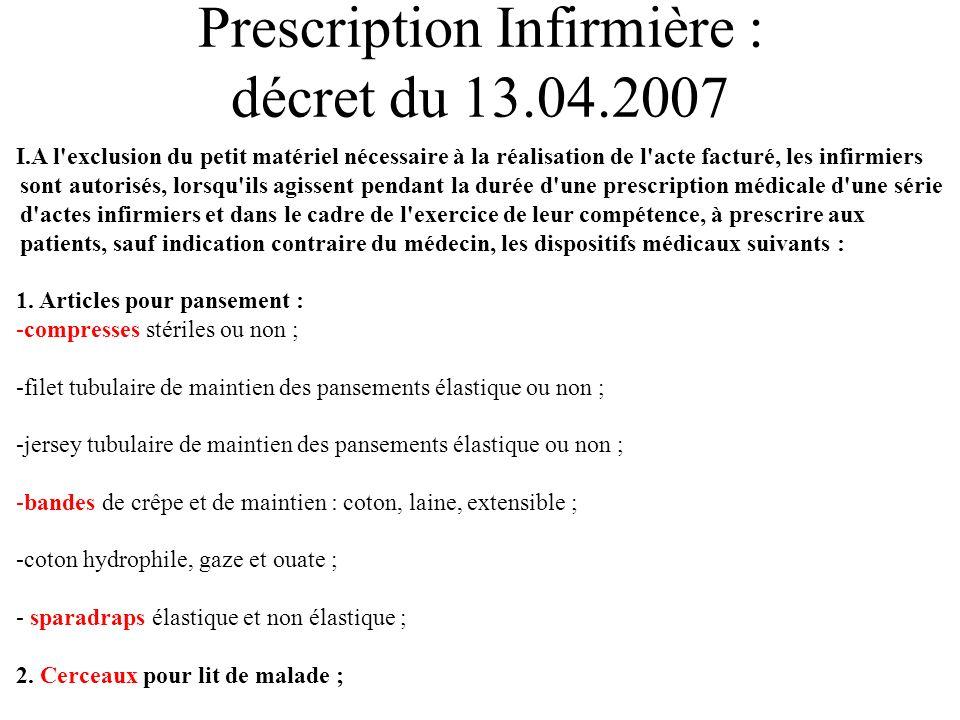 Prescription Infirmière : décret du 13.04.2007 I.A l'exclusion du petit matériel nécessaire à la réalisation de l'acte facturé, les infirmiers sont au