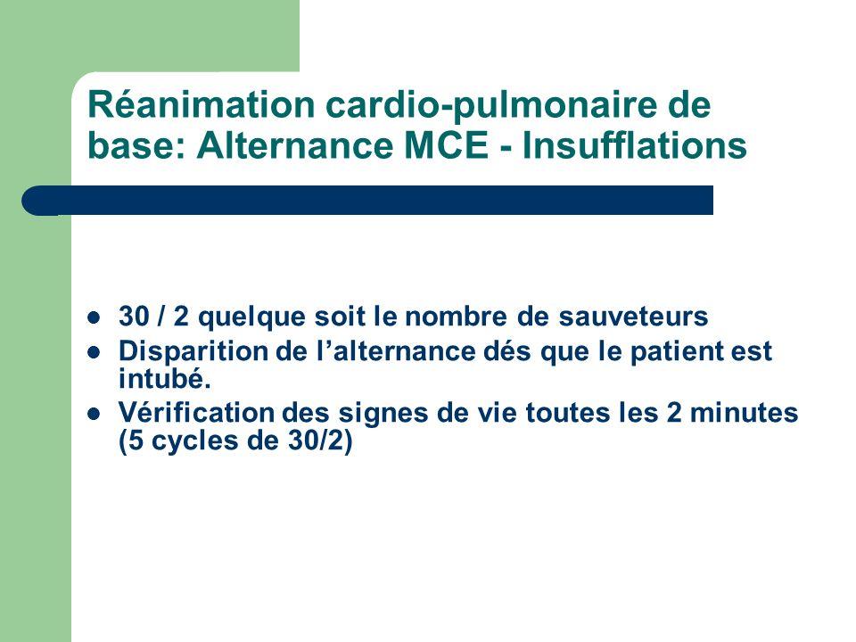 Réanimation cardio-pulmonaire de base: Alternance MCE - Insufflations 30 / 2 quelque soit le nombre de sauveteurs Disparition de lalternance dés que le patient est intubé.