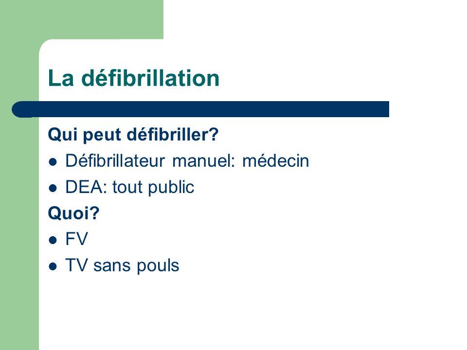 La défibrillation Qui peut défibriller.Défibrillateur manuel: médecin DEA: tout public Quoi.