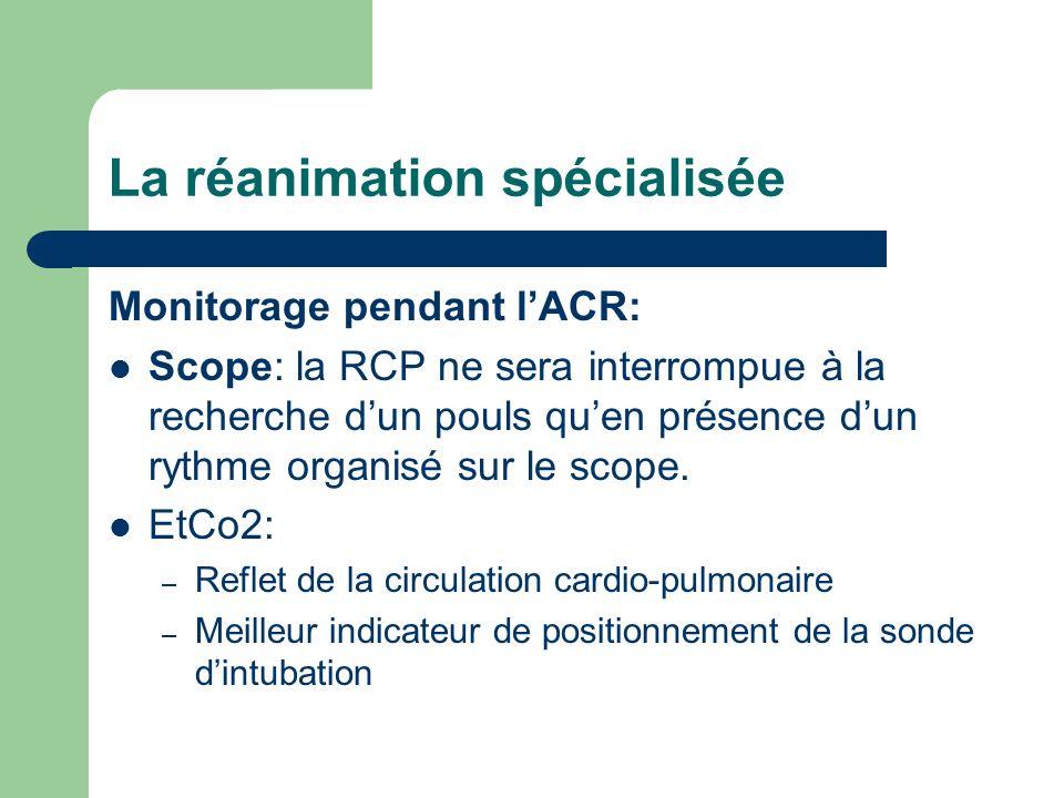 La réanimation spécialisée Monitorage pendant lACR: Scope: la RCP ne sera interrompue à la recherche dun pouls quen présence dun rythme organisé sur le scope.