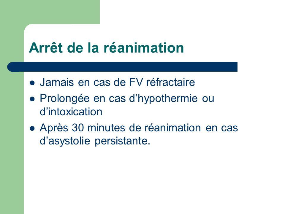 Arrêt de la réanimation Jamais en cas de FV réfractaire Prolongée en cas dhypothermie ou dintoxication Après 30 minutes de réanimation en cas dasystolie persistante.