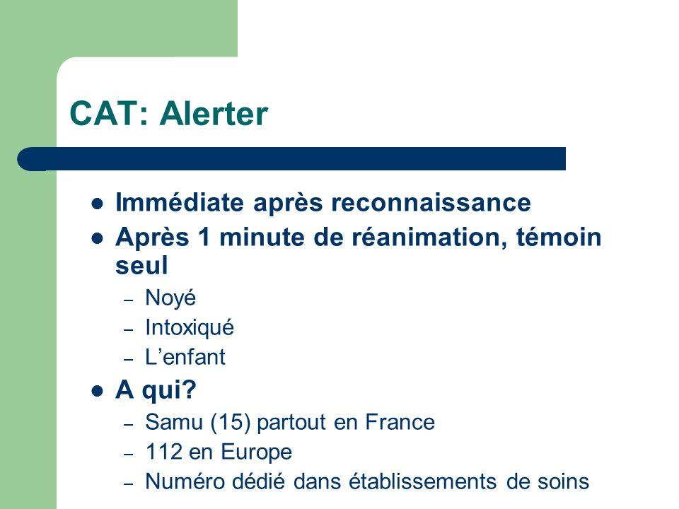 CAT: Alerter Immédiate après reconnaissance Après 1 minute de réanimation, témoin seul – Noyé – Intoxiqué – Lenfant A qui.