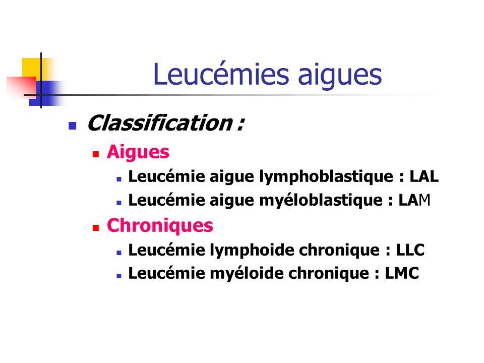 Leucémies aigues Classification : Aigues Leucémie aigue lymphoblastique : LAL Leucémie aigue myéloblastique : LAM Chroniques Leucémie lymphoide chronique : LLC Leucémie myéloide chronique : LMC
