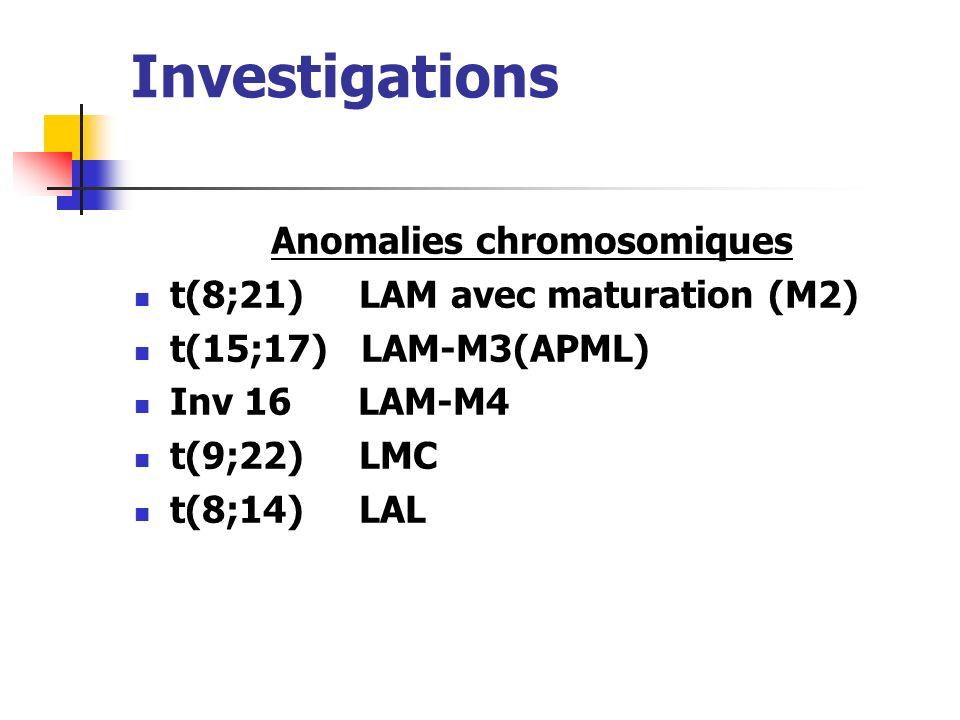 Investigations Les anticorps monoclonaux sont utilisés pour étudier les CD de la surface des cellules. LAM :CD13, CD33 LAL : CD10, CD 19, CD22 CD3, CD