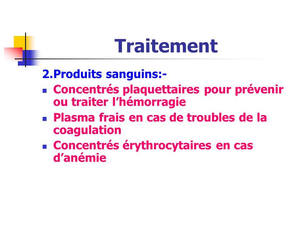 Traitement Traitement de support : 1.Dispositif veineux implantable: Facilite ladministration des produits sanguins De la chimiothérapie et des antibi