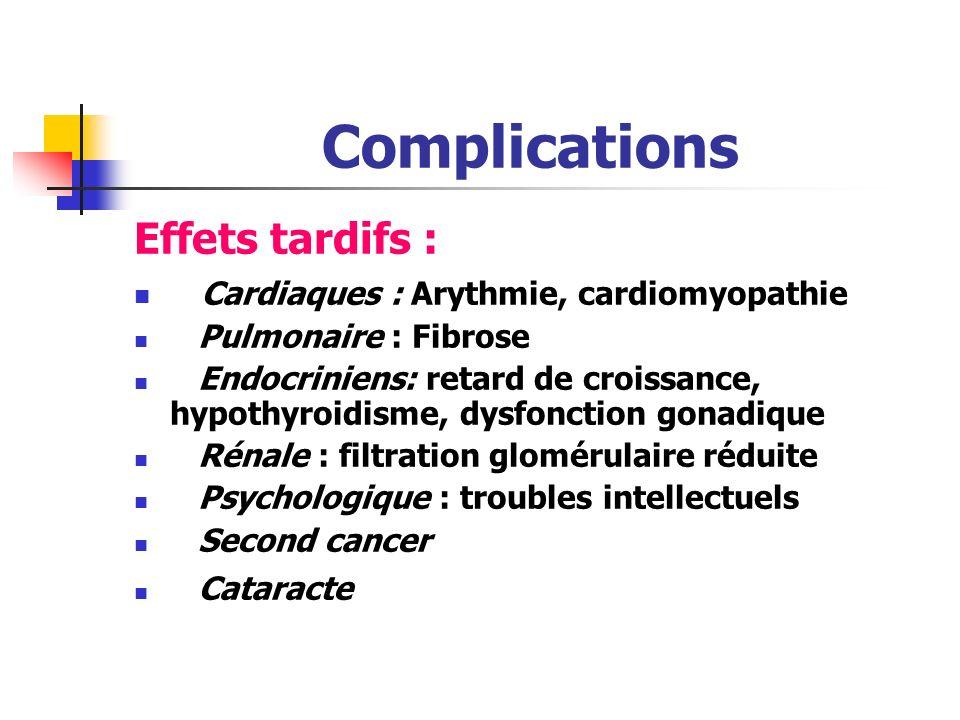 Complications Toxicité immédiate Nausées vomissements Mucite, chute de cheveux,neuropathie troubles hépatiques et rénaux myélosuppression