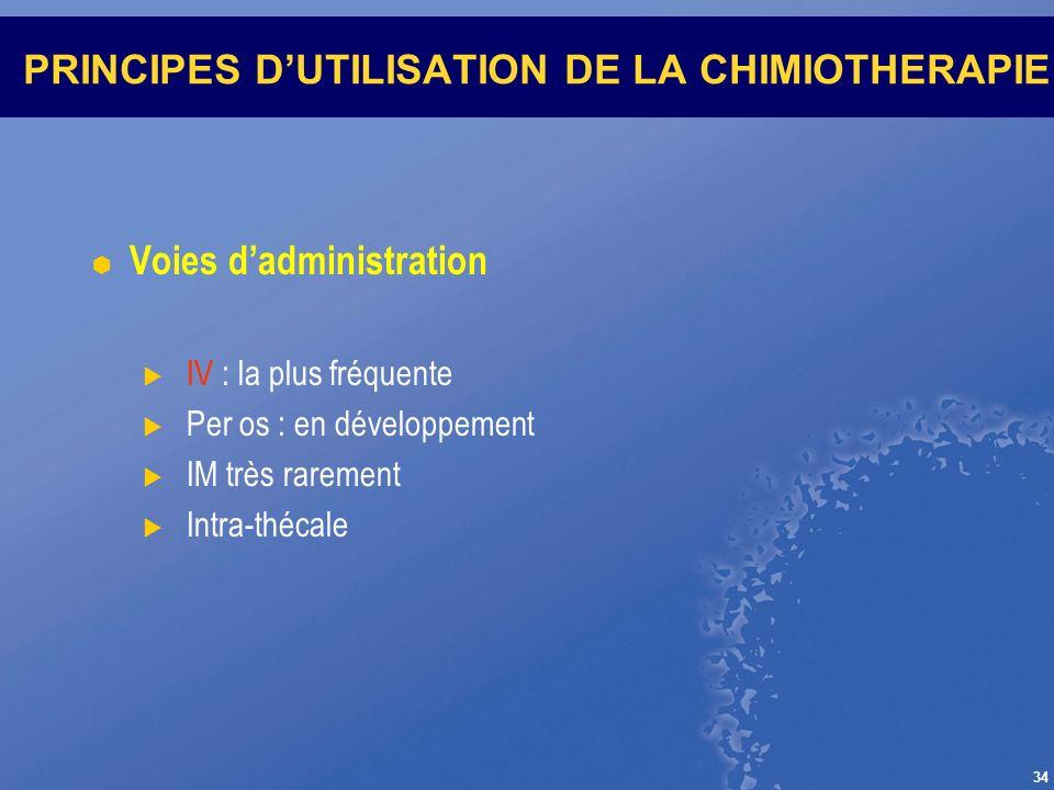 34 PRINCIPES DUTILISATION DE LA CHIMIOTHERAPIE Voies dadministration IV : la plus fréquente Per os : en développement IM très rarement Intra-thécale
