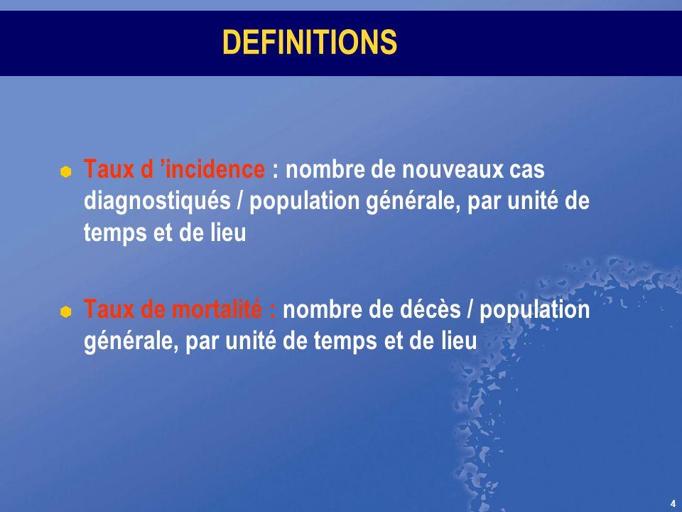 4 DEFINITIONS Taux d incidence : nombre de nouveaux cas diagnostiqués / population générale, par unité de temps et de lieu Taux de mortalité : nombre