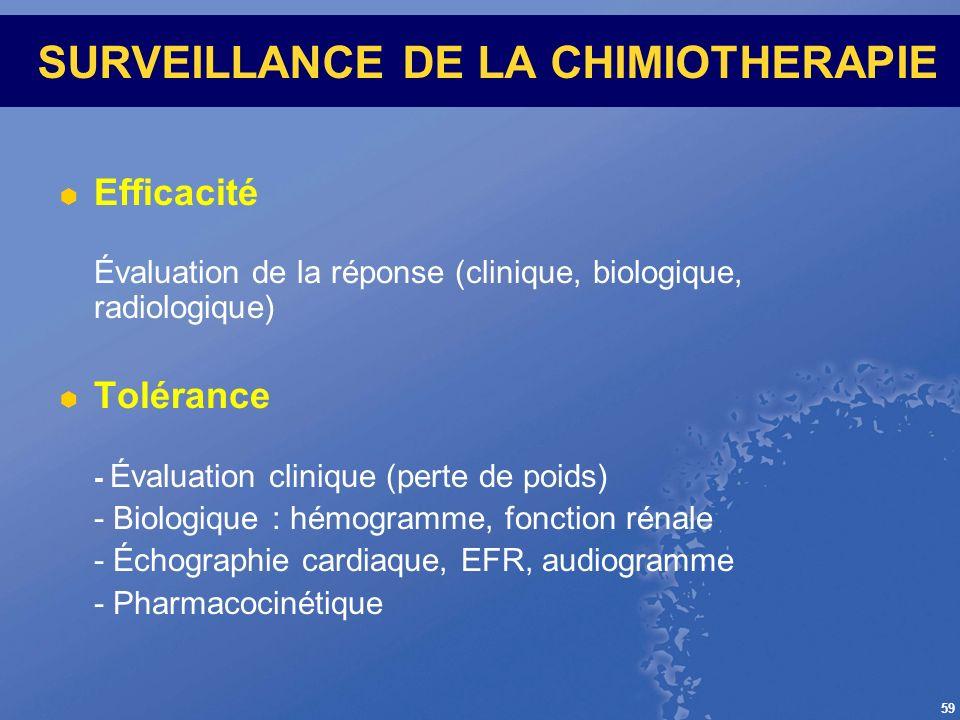 59 SURVEILLANCE DE LA CHIMIOTHERAPIE Efficacité Évaluation de la réponse (clinique, biologique, radiologique) Tolérance - Évaluation clinique (perte d