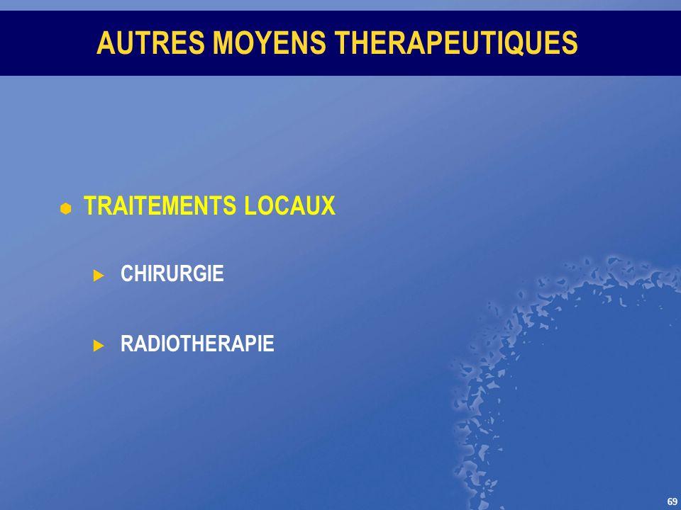 69 AUTRES MOYENS THERAPEUTIQUES TRAITEMENTS LOCAUX CHIRURGIE RADIOTHERAPIE