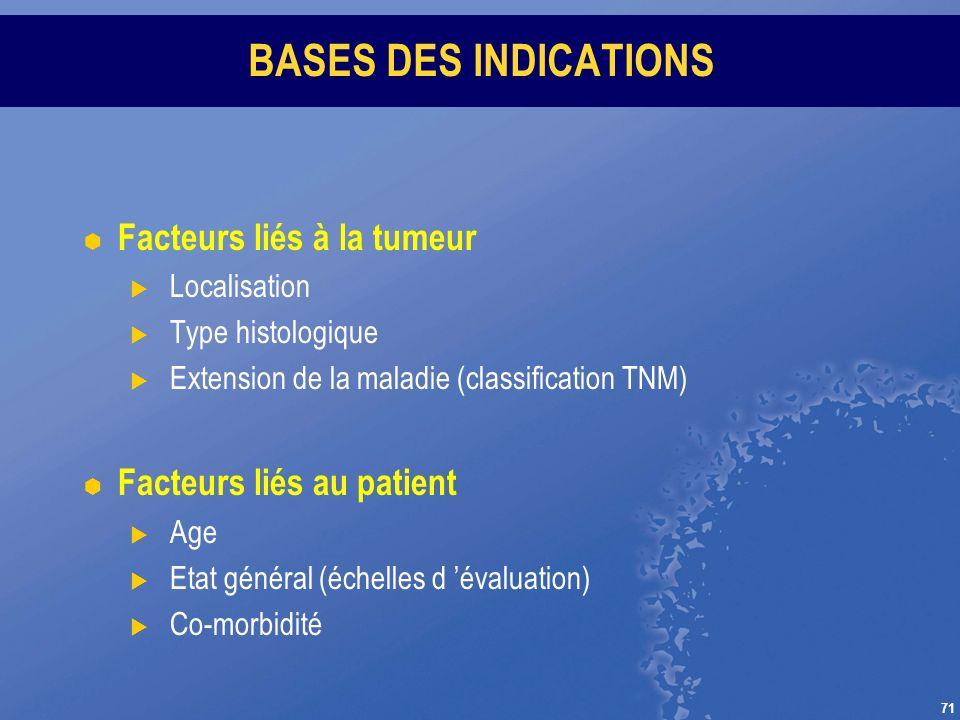 71 BASES DES INDICATIONS Facteurs liés à la tumeur Localisation Type histologique Extension de la maladie (classification TNM) Facteurs liés au patien