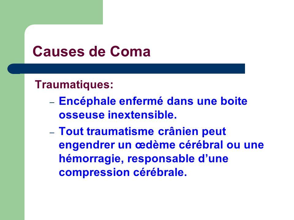 Causes de Coma Traumatiques: – Encéphale enfermé dans une boite osseuse inextensible. – Tout traumatisme crânien peut engendrer un œdème cérébral ou u