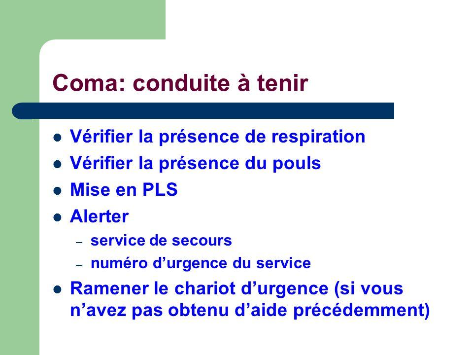 Coma: conduite à tenir Vérifier la présence de respiration Vérifier la présence du pouls Mise en PLS Alerter – service de secours – numéro durgence du