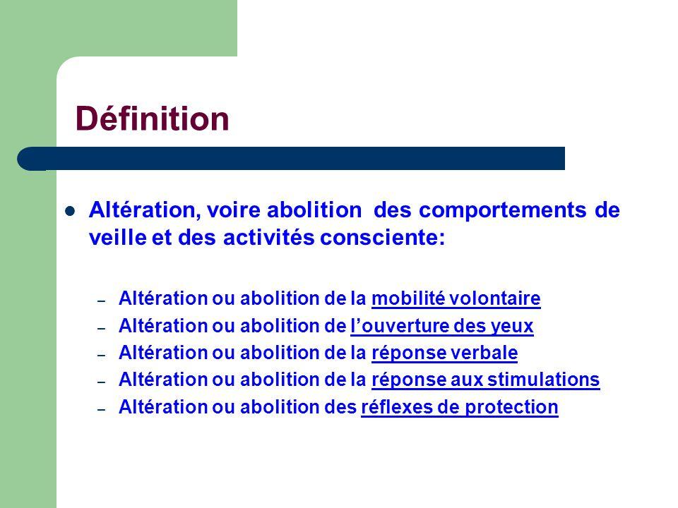 Définition Altération, voire abolition des comportements de veille et des activités consciente: – Altération ou abolition de la mobilité volontaire –