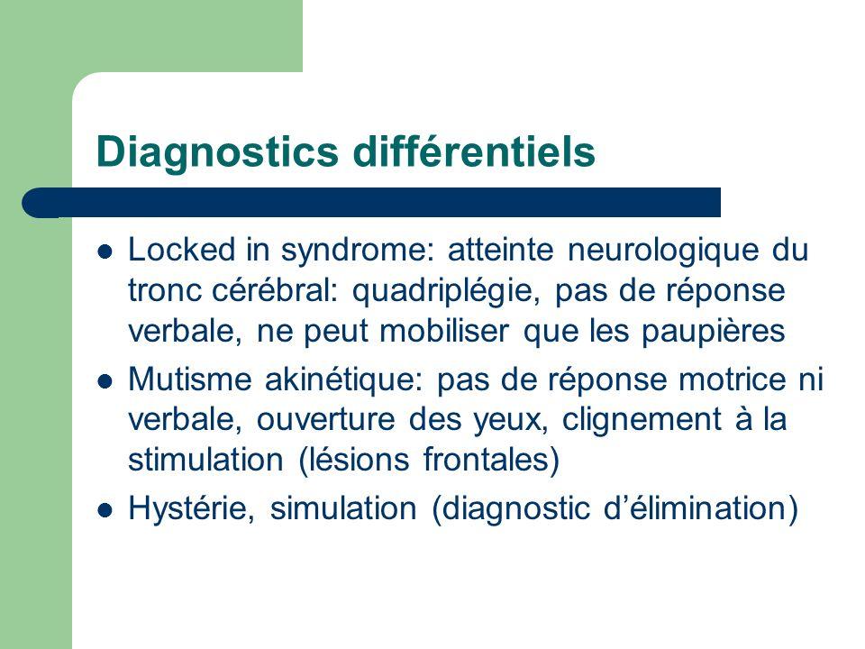 Diagnostics différentiels Locked in syndrome: atteinte neurologique du tronc cérébral: quadriplégie, pas de réponse verbale, ne peut mobiliser que les