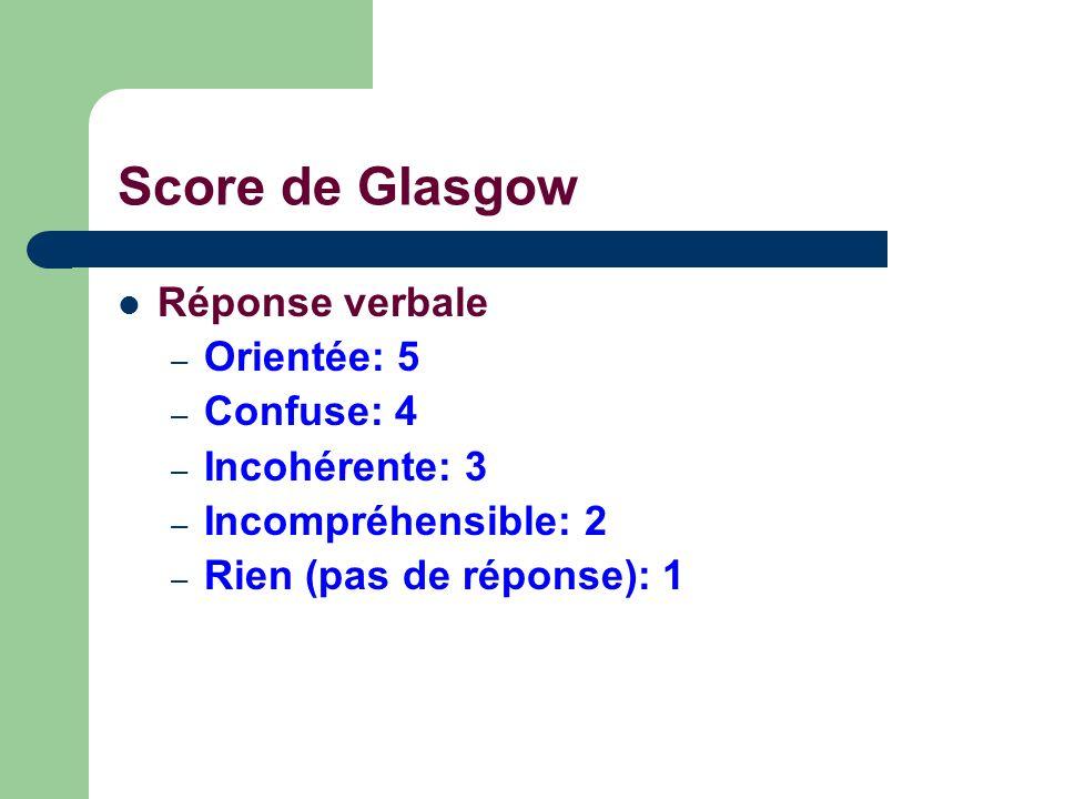 Réponse verbale – Orientée: 5 – Confuse: 4 – Incohérente: 3 – Incompréhensible: 2 – Rien (pas de réponse): 1