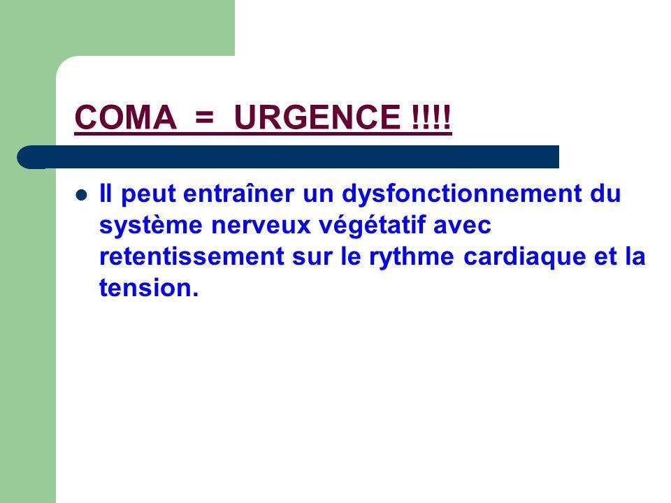 COMA = URGENCE !!!! Il peut entraîner un dysfonctionnement du système nerveux végétatif avec retentissement sur le rythme cardiaque et la tension.