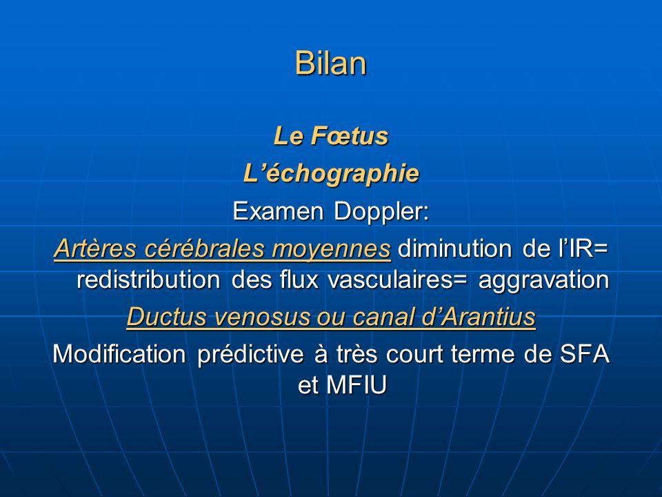 Bilan Le Fœtus Léchographie Examen Doppler: Artères cérébrales moyennes diminution de lIR= redistribution des flux vasculaires= aggravation Ductus venosus ou canal dArantius Modification prédictive à très court terme de SFA et MFIU