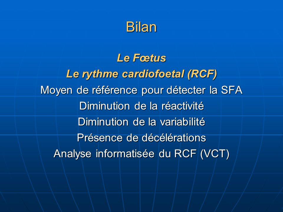 Bilan Le Fœtus Le rythme cardiofoetal (RCF) Moyen de référence pour détecter la SFA Diminution de la réactivité Diminution de la variabilité Présence de décélérations Analyse informatisée du RCF (VCT)