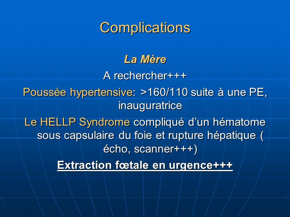 Complications La Mère A rechercher+++ Poussée hypertensive: >160/110 suite à une PE, inauguratrice Le HELLP Syndrome compliqué dun hématome sous capsulaire du foie et rupture hépatique ( écho, scanner+++) Extraction fœtale en urgence+++