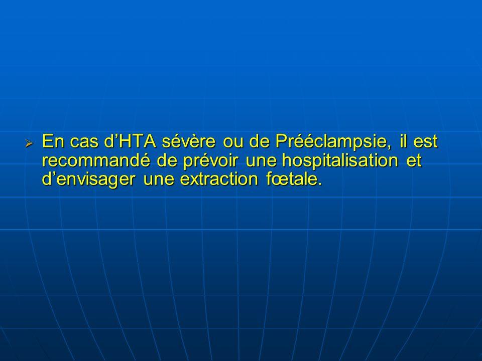 En cas dHTA sévère ou de Prééclampsie, il est recommandé de prévoir une hospitalisation et denvisager une extraction fœtale.
