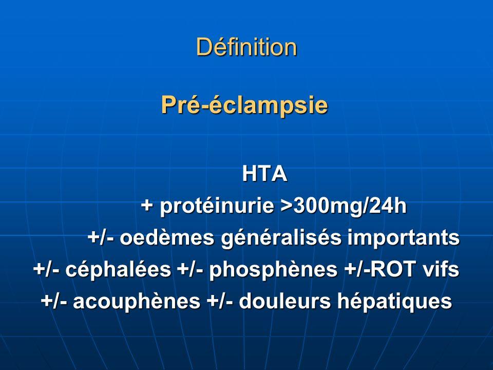 Définition Pré-éclampsie Pré-éclampsie HTA HTA + protéinurie >300mg/24h + protéinurie >300mg/24h +/- oedèmes généralisés importants +/- oedèmes généralisés importants +/- céphalées +/- phosphènes +/-ROT vifs +/- acouphènes +/- douleurs hépatiques