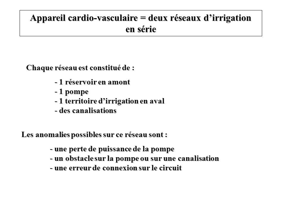 Appareil cardio-vasculaire = deux réseaux dirrigation en série Chaque réseau est constitué de : - 1 réservoir en amont - 1 pompe - 1 territoire dirrig