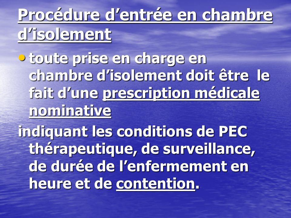 Procédure dentrée en chambre disolement toute prise en charge en chambre disolement doit être le fait dune prescription médicale nominative toute pris