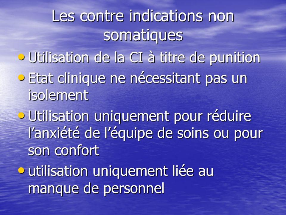 Les contre indications non somatiques Utilisation de la CI à titre de punition Utilisation de la CI à titre de punition Etat clinique ne nécessitant p