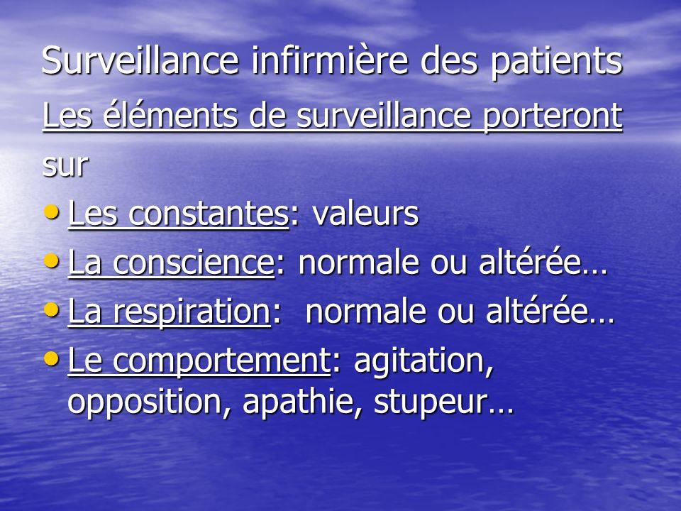 Surveillance infirmière des patients Les éléments de surveillance porteront sur Les constantes: valeurs Les constantes: valeurs La conscience: normale