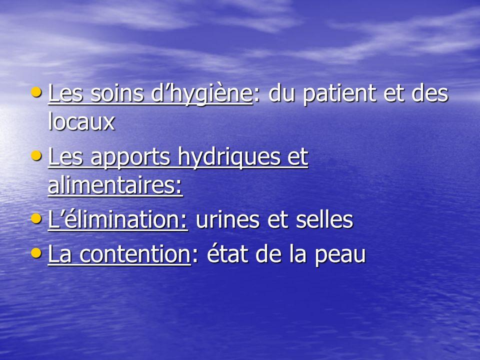 Les soins dhygiène: du patient et des locaux Les soins dhygiène: du patient et des locaux Les apports hydriques et alimentaires: Les apports hydriques